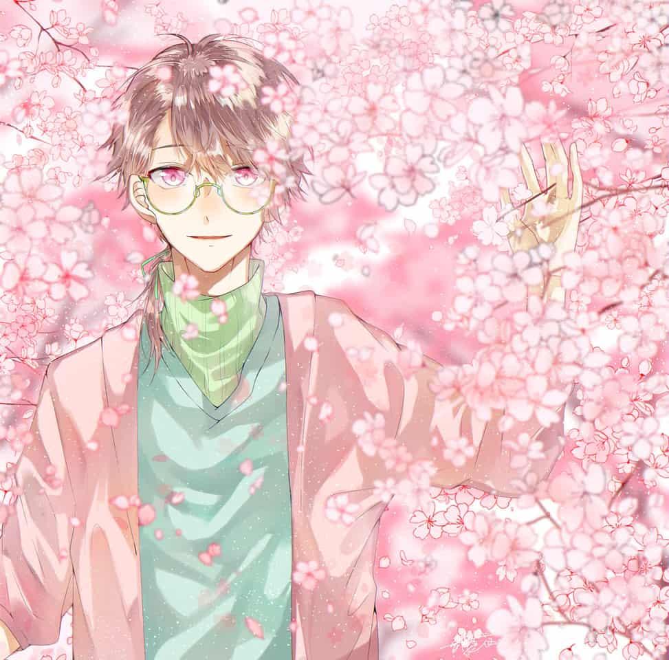 桜の合間から Illust of 都良 original sakura boy illustration flower