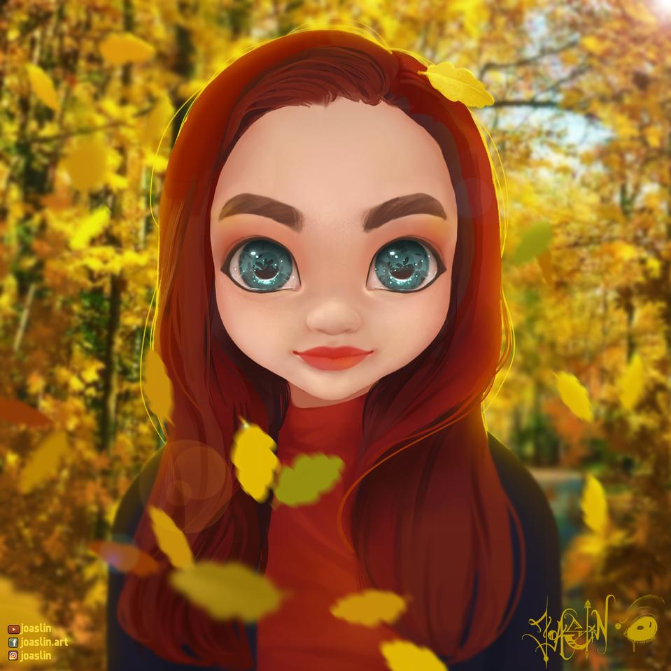🍂 Autumnal walk Illust of JoAsLiN ARTstreet_Ranking anime fall girl eyes oc original illustration autumn leaves cute