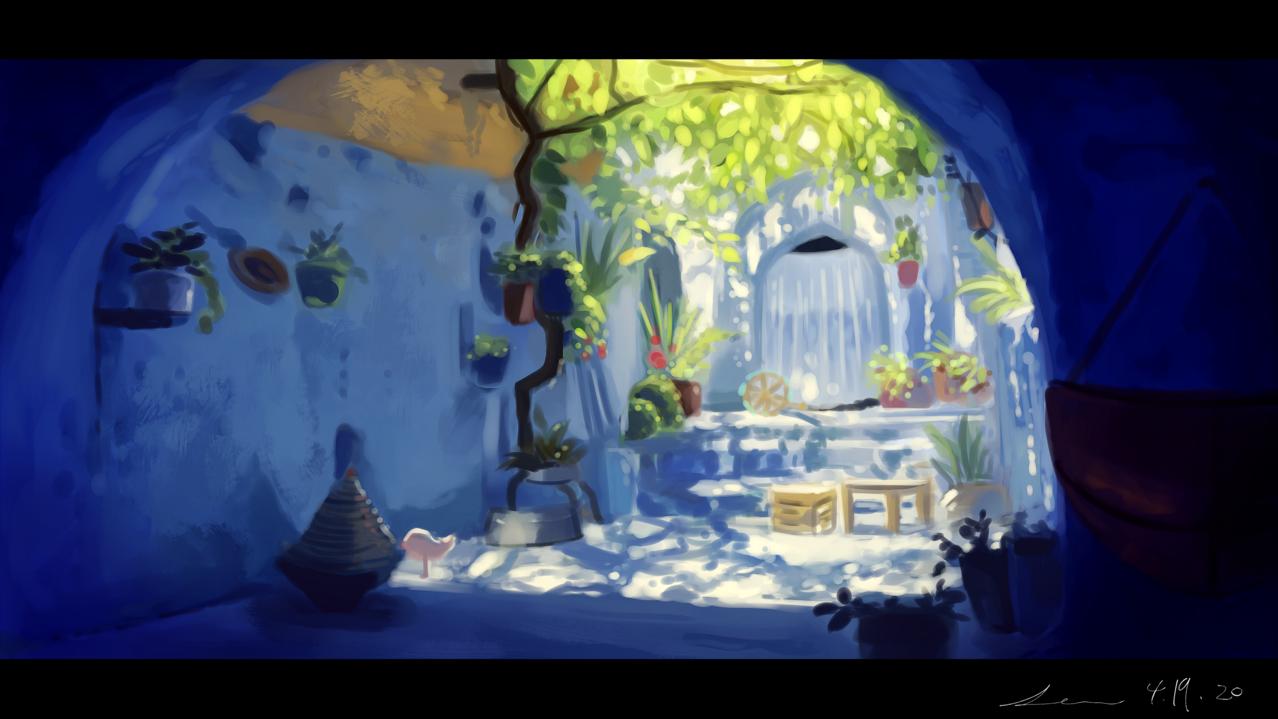 蒼に住む Illust of 星灯れぬ 模写 blue 家 scenery white 風景画