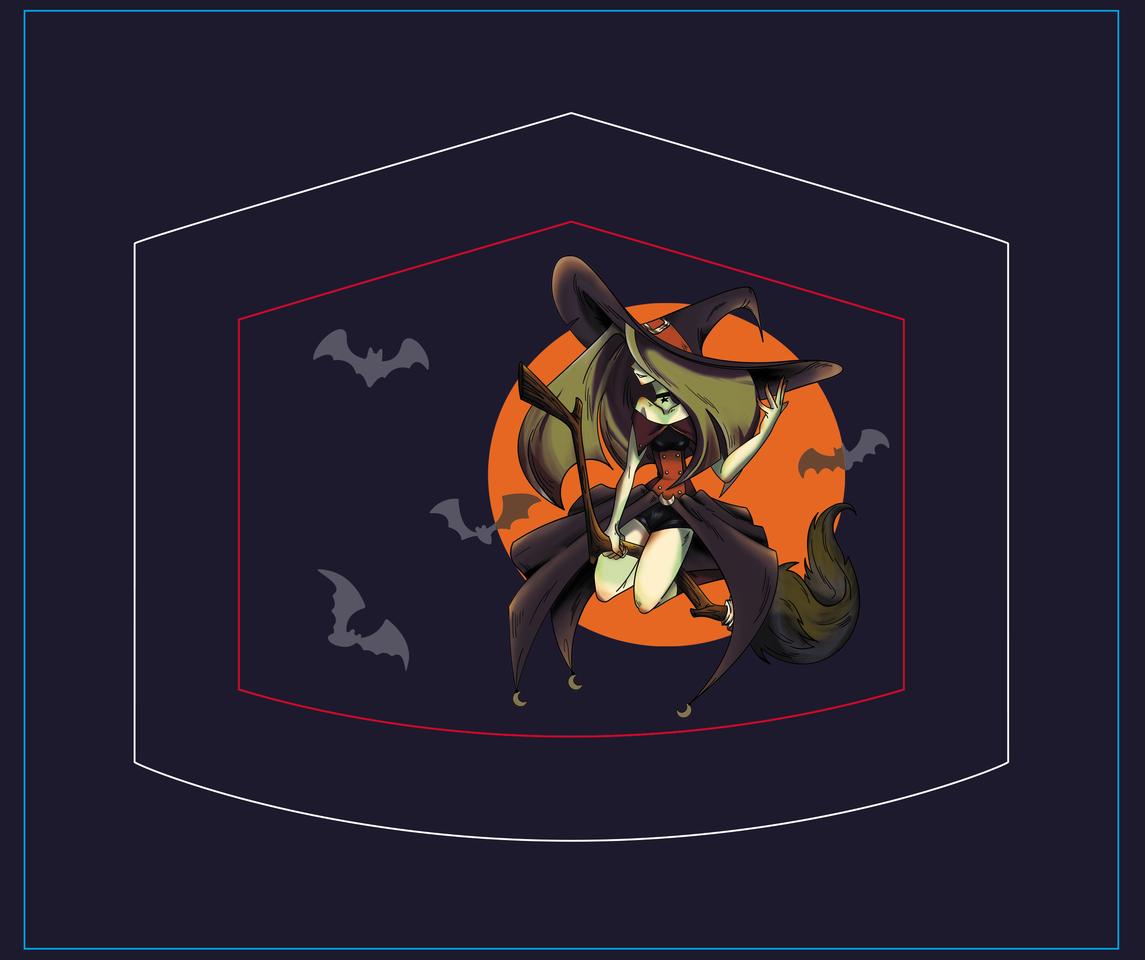 WITCH Illust of DANNARTWORK MaskDesignContest orange witch bruja ilustration Halloween dreaw illustration mascarilla noche mask