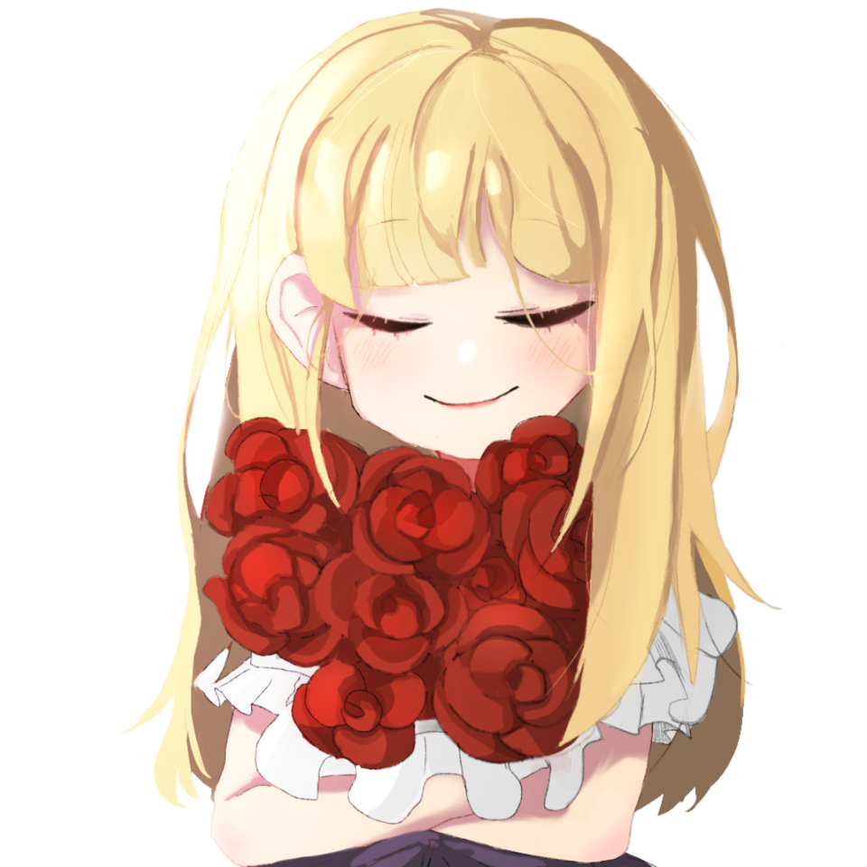 hugging rose bouquet Illust of Pomelo April2021_Flower red blonde longhair flower smile bouquet roses