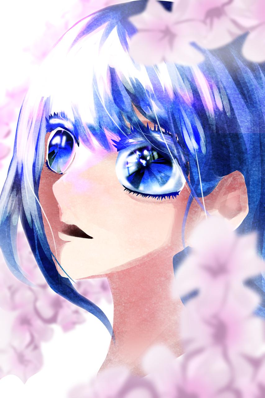 花と青 Illust of ゆた medibangpaint sakura girl flower blue eyes oc