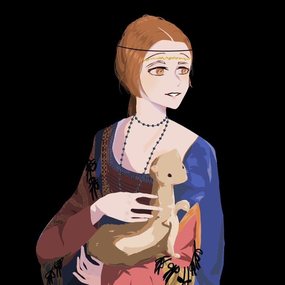 原本的畫家名:李奧納多·達·文西  畫名:《抱銀貂的女子》 Illust of 馬爾福夫人0219 MasterpieceFanart