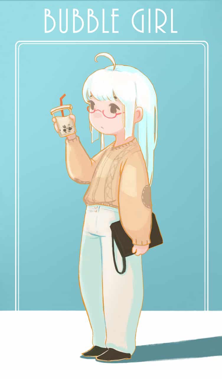 Bubble Girl Illust of 抽子 cute girl illustration