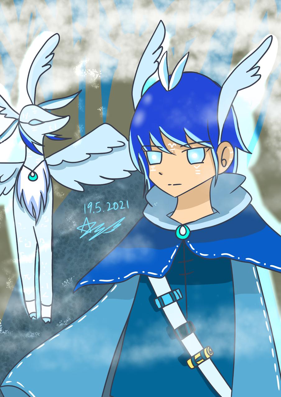 精靈鹿與少年 Illust of 神祕的星彩star boy forest 神祕 自創角色 鹿 訓練背景 霧