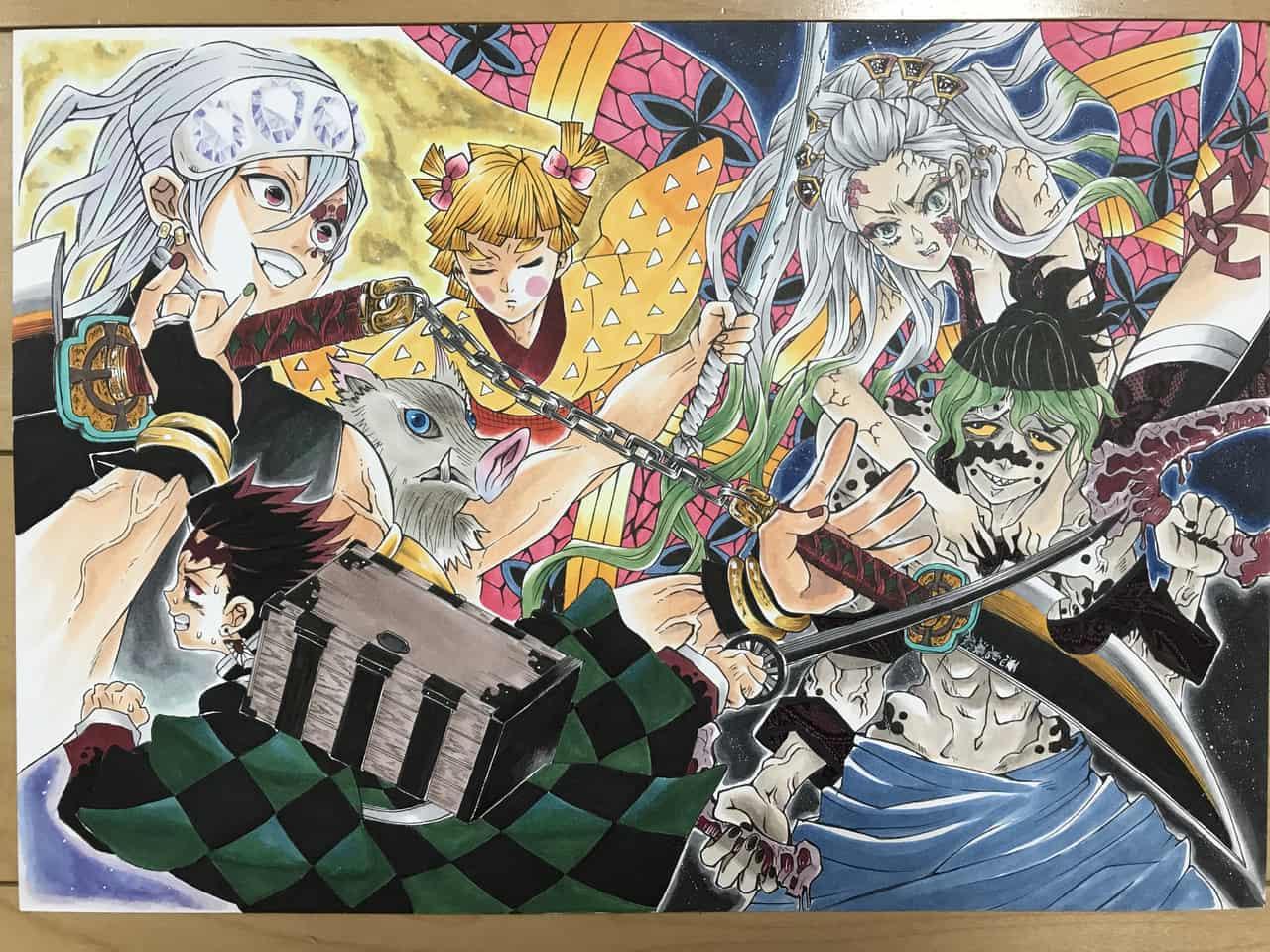 遊郭編 Illust of さをり DemonSlayerFanartContest KimetsunoYaiba fanart HashibiraInosuke AgatsumaZenitsu illustration UzuiTengen KamadoTanjirou