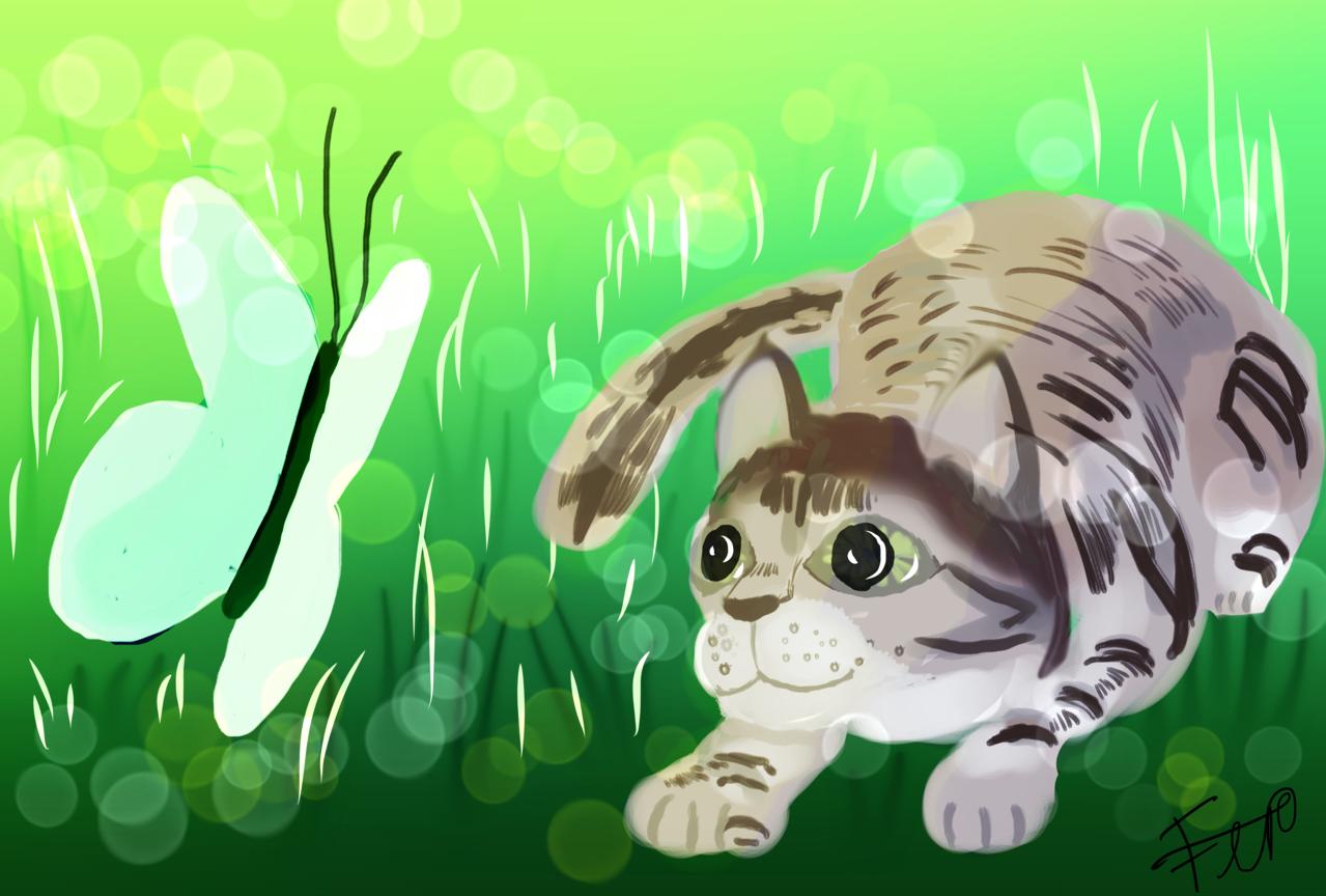 attempt at hunting  Illust of catsoul medibangpaint 1hDrawingChallenge cat