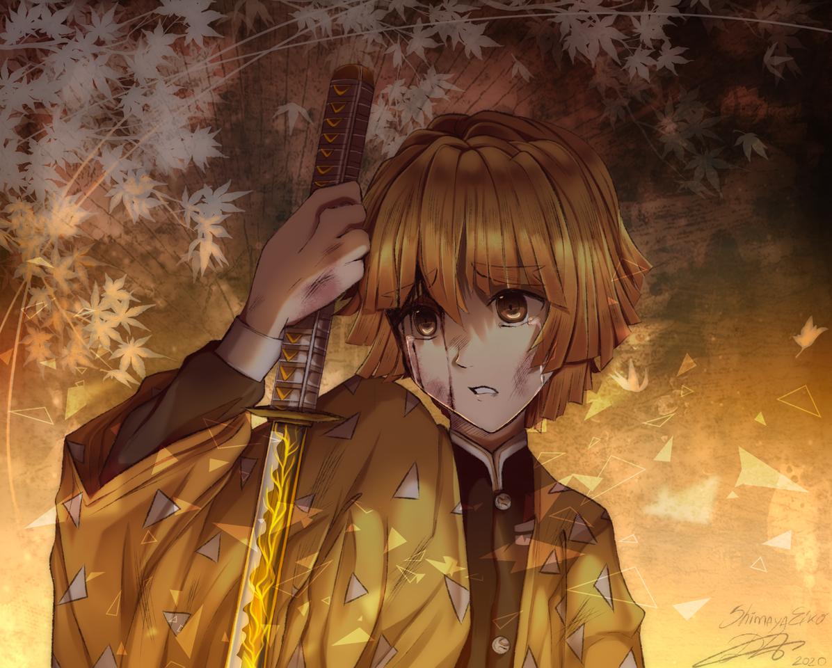 善逸 Illust of ShimayaEiko DemonSlayerFanartContest portrait illustration KimetsunoYaiba fanart digital art AgatsumaZenitsu drawing sad yellow anime
