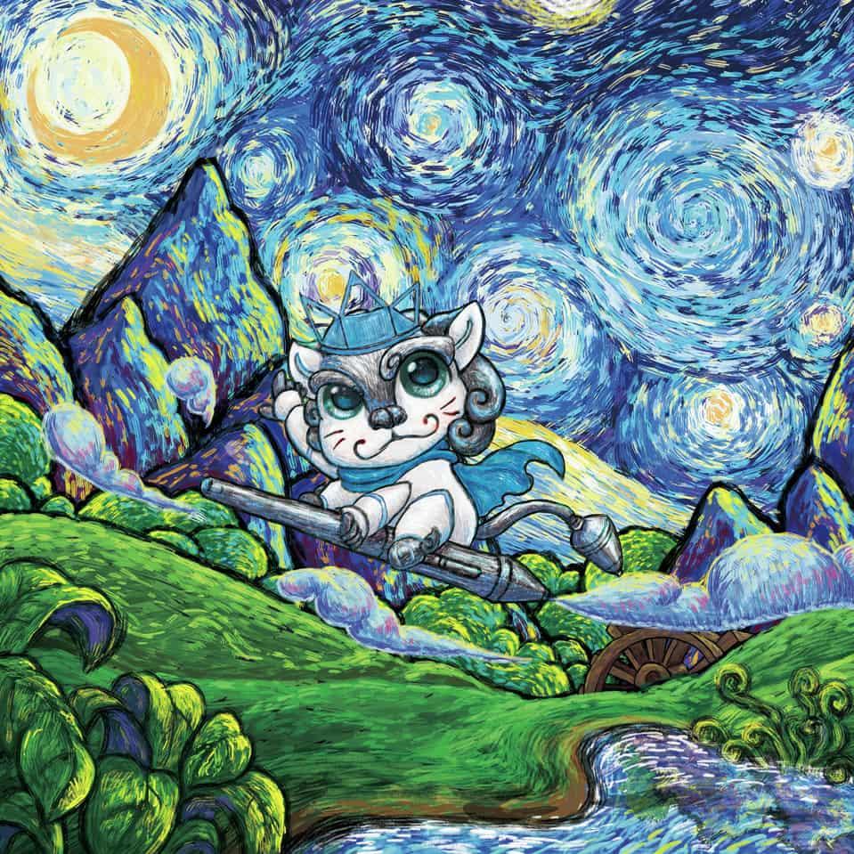星空翱翔 Illust of 猫一腿 fantasy HuionDesign 卡通 梦幻 唯美 梵高