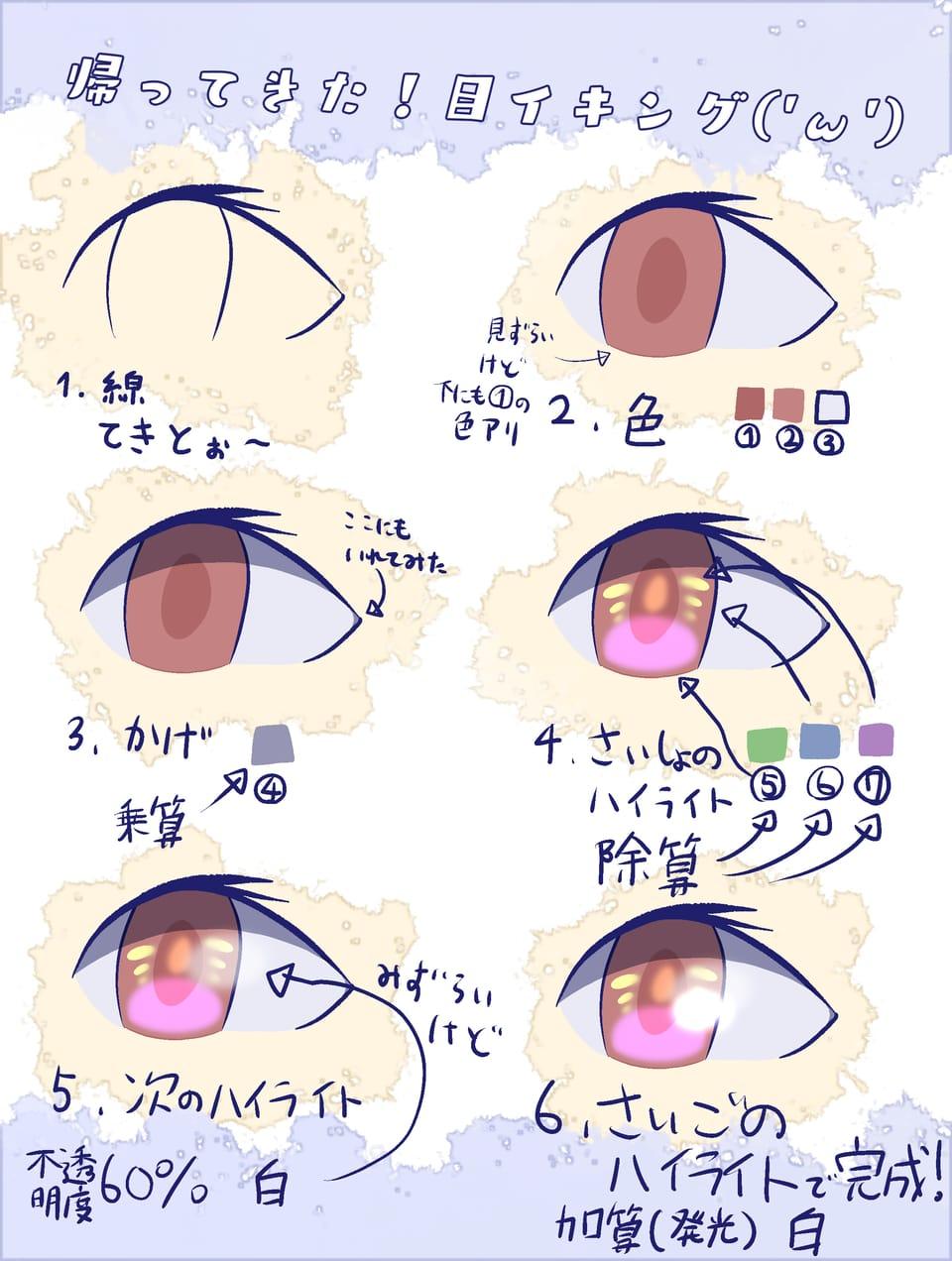 帰ってきた!目イキング('ω') Illust of ぽみあん('ω') The_Challengers 目イキング tutorial medibangpaint