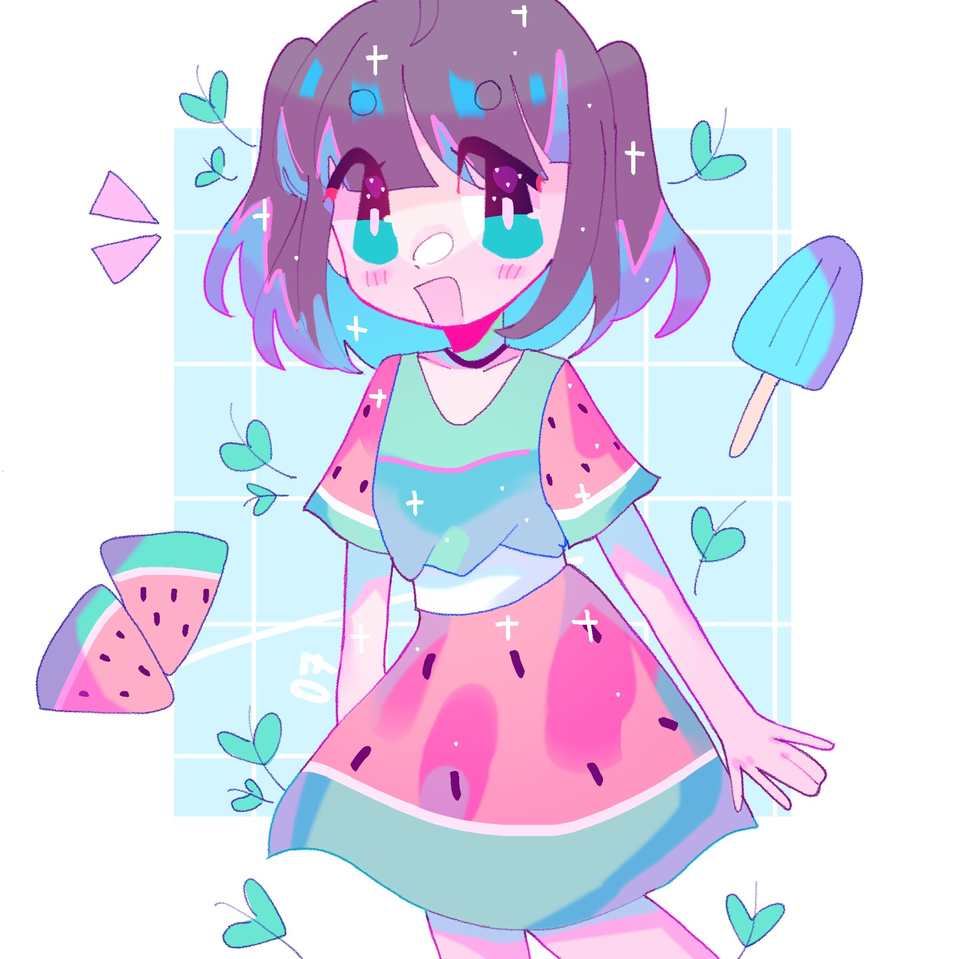 Dumpy dumpy Illust of pErSon blue girl pastel original pink fanart JujutsuKaisen oc anime