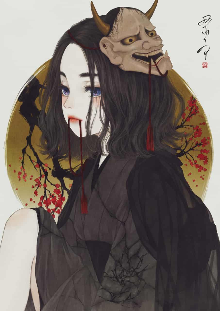 こぼれるは、梅の花と恨み節 Illust of 丑山雨 kimono Japanese_style 梅の花 iPad girl メディバン 般若 medibangpaint