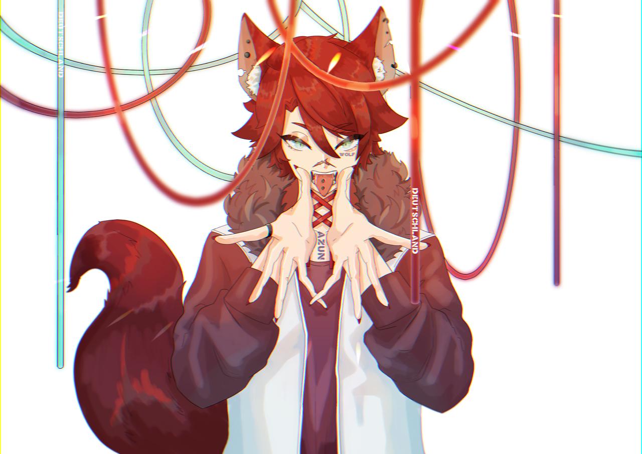 赤オオカミ Illust of サメ🦈 animal_ears wolf red