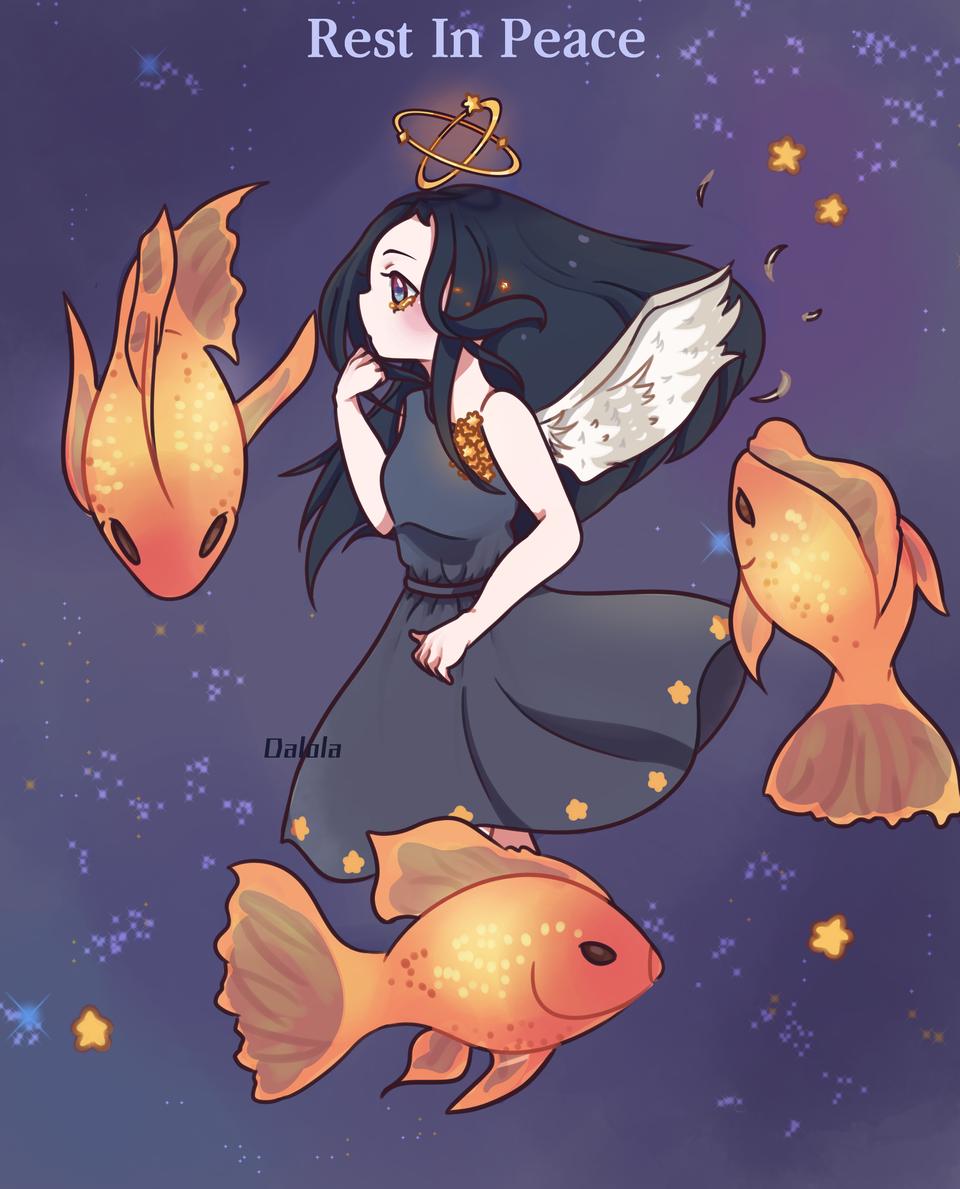 Qinniart Illust of Dalola medibangpaint 黒髪 angel girl goldfish