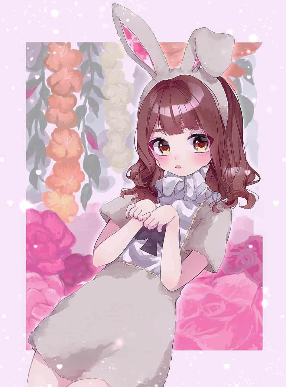 HappyEaster🌷 Illust of 佐藤べに仔 March.2020Contest:Easter cute girl おんなのこ original うさ耳