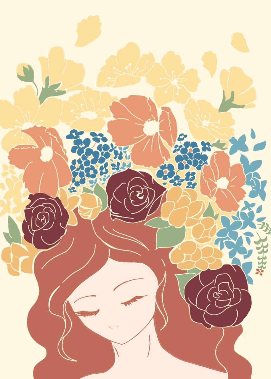 花(秋) Illust of Haruki April.2020Contest:Color jumppaint autumn girl flower