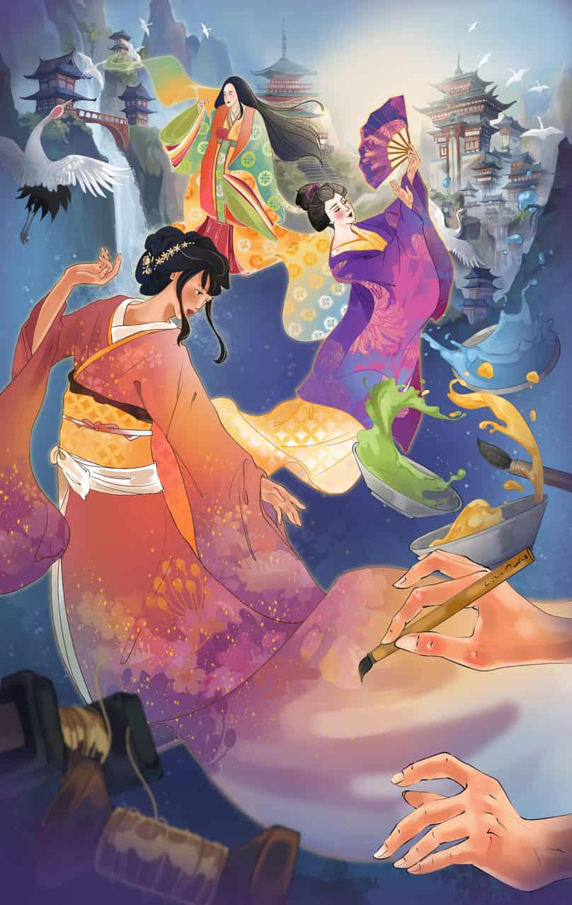 The Creation of Kimono Illust of puteriesther Kyoto_Award2020_illustration design kimono illustration