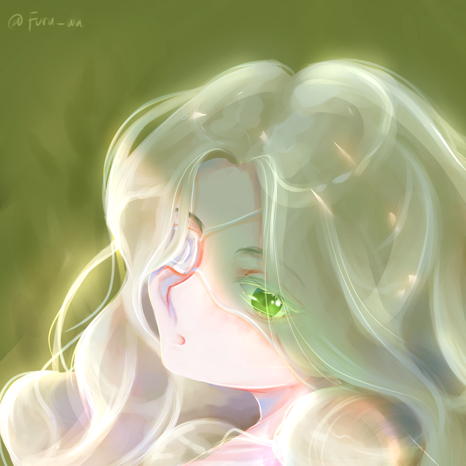 White and green Illust of Furuwa medibangpaint girl green anime white_hair
