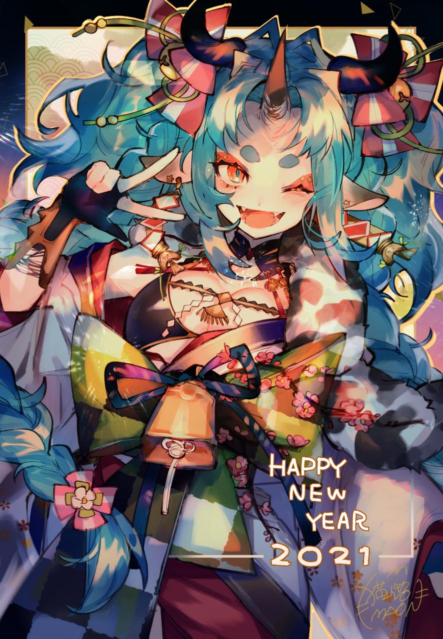 2021 Illust of 猫小路 original girl oc 正月 鬼 horn