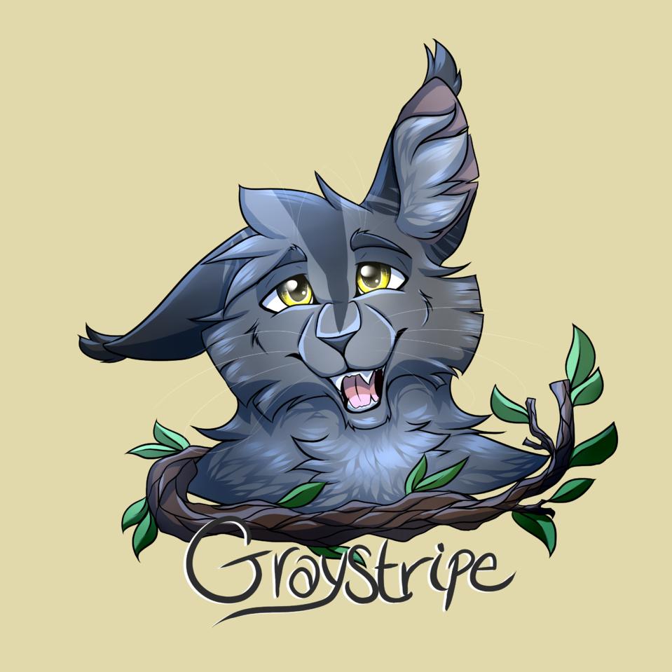 ɢ ʀ ᴀ ʏ s ᴛ ʀ ɪ ᴘ ᴇ Illust of rivstars medibangpaint cat warriorcats art Graystripe