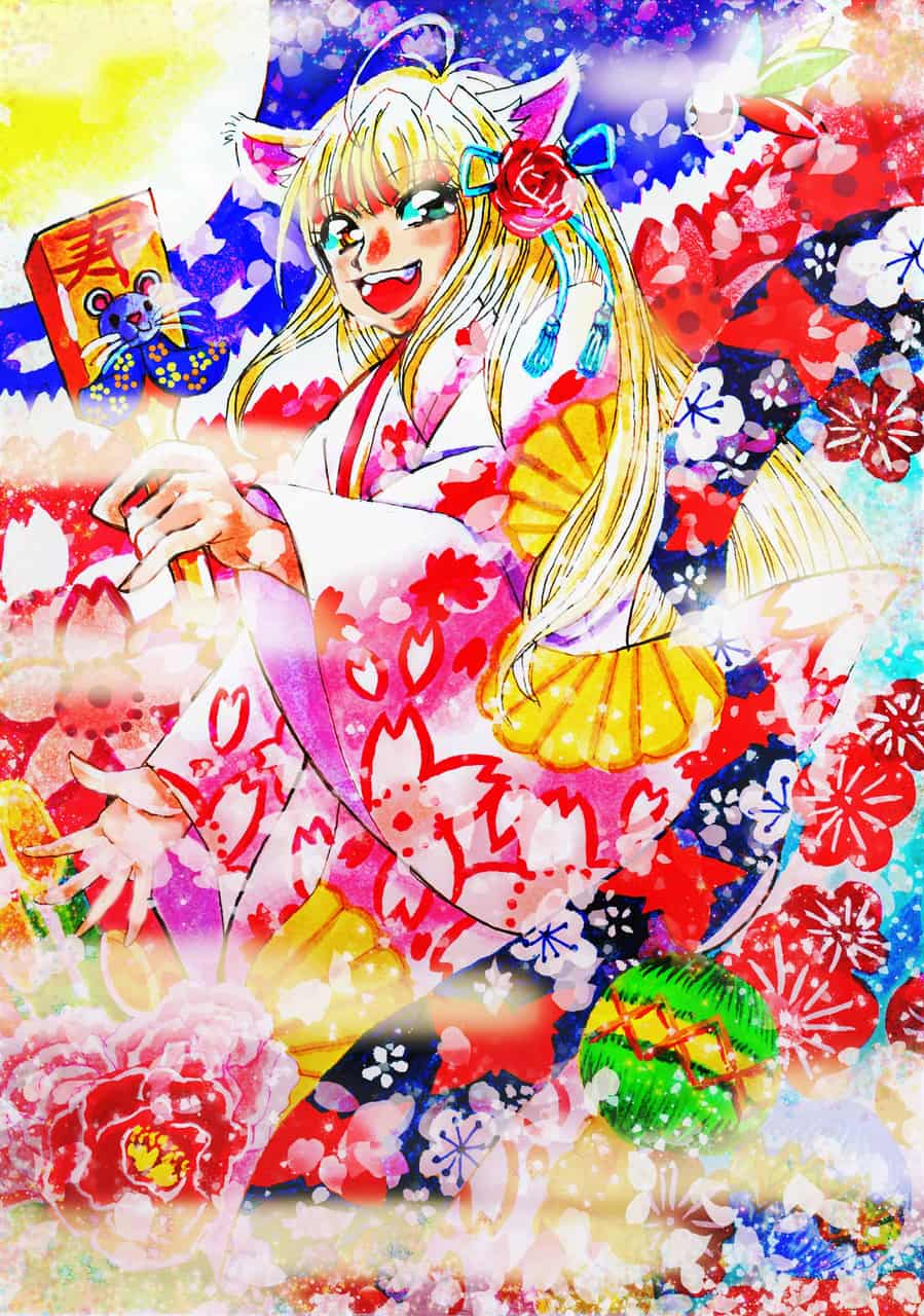 Viva Nezumi-Year!! Illust of おち☆よしかず(Occhiiy:オッチー☆) Kyoto_Award2020_illustration sakura ねずみ年 dog_ears 桜吹雪 梅 original kimono オリジナルキャラクター女の子 羽子板 portrait