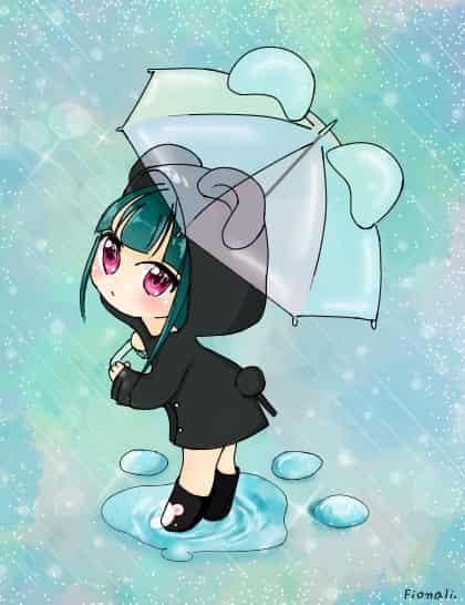 くまクマ熊ベアー Illust of Fiona bear girl rain cute raincoat