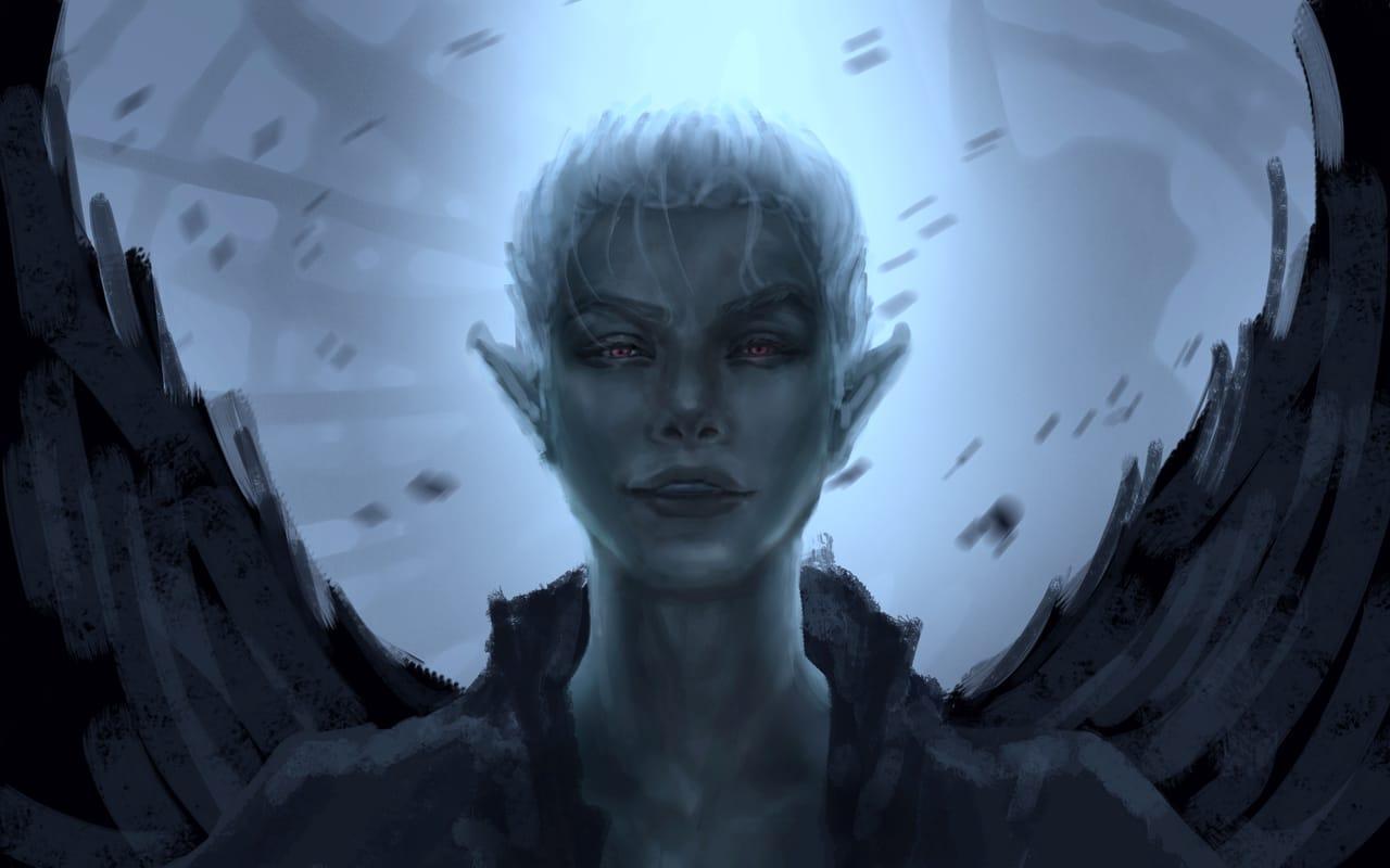 Devil-dark Illust of CHI-NAI January2021_Contest:OC dark demon man boy original eyes wings