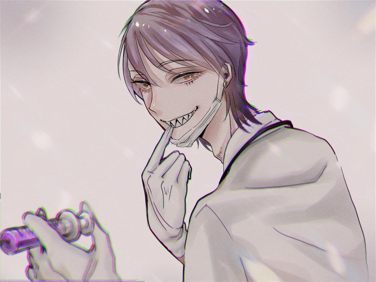mad Dr. Illust of なん氏 digital 医者 注射器 白衣 boy illustration デジタルイラスト ギザ歯