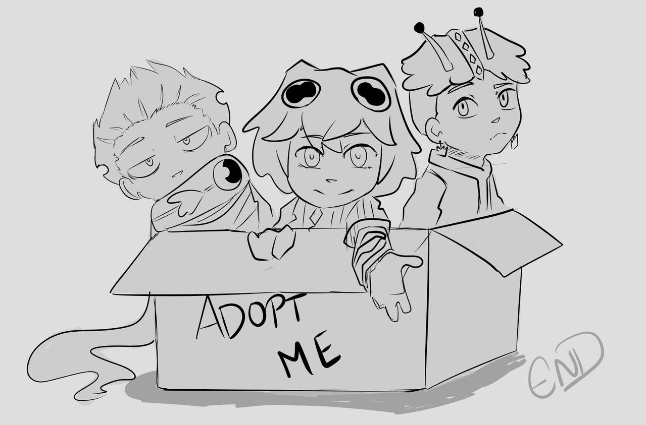 Adopt Raffle! Illust of DremEND chibi girl Adoptable sea boy sketch raffle characterdesign oc