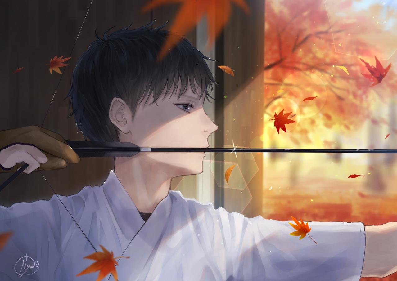 静かな秋 Illust of 稔也 original Japanese_style boy 紅葉 弓道