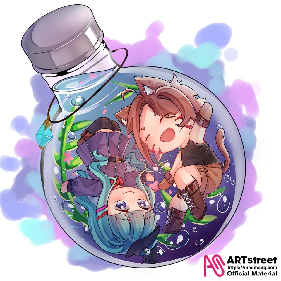 WItch and Nekomimi Illust of am_via fantasy tracedrawing witch cute cat animegirl