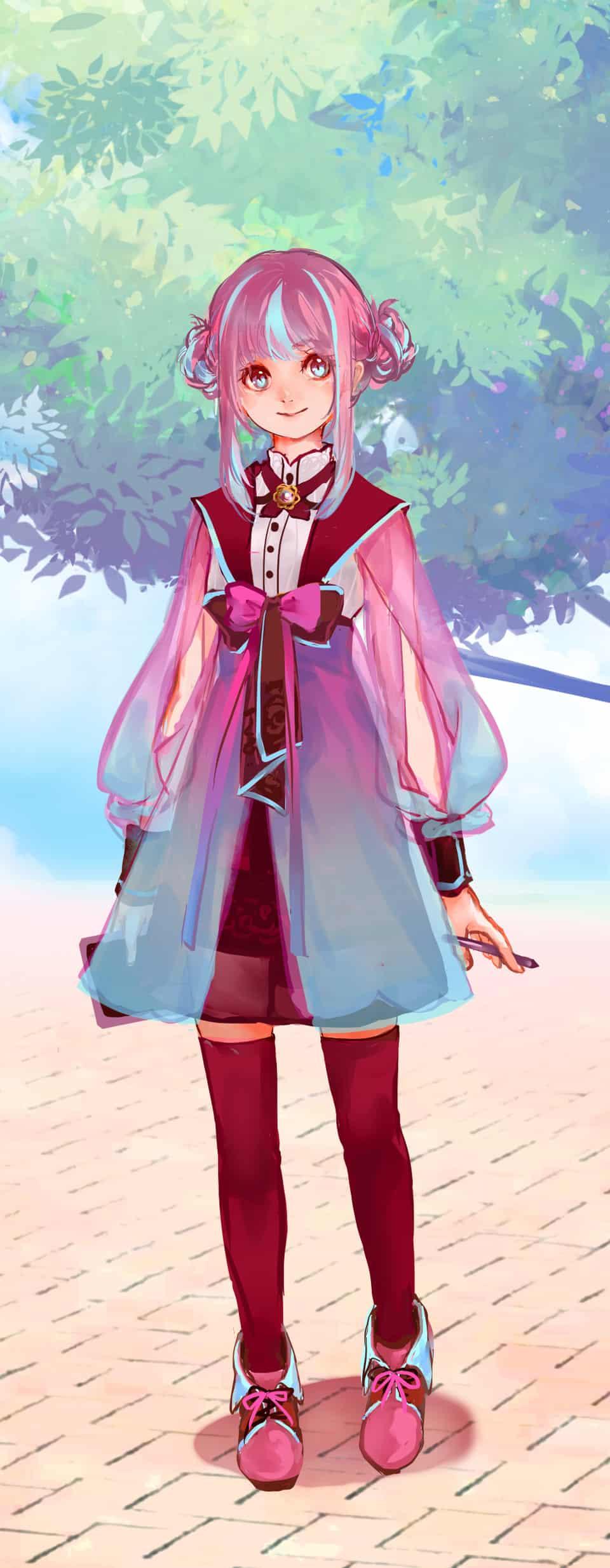PASTEL SKETCH 粉紅女孩 Illust of 墨舒 girl pink