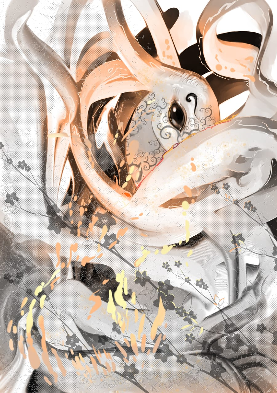 Grey and Gold with flowers Illust of Lear April2021_Flower March2021_Creature flowers art gold design