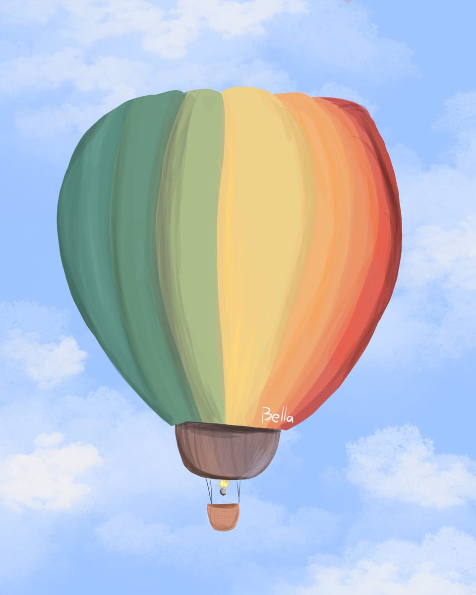 Hot Air Balloon Thing Illust of ꜱᴀᴘᴘʏʙᴇʟʟᴀ • ꜱᴀᴘɴᴀᴘ ᴍᴏᴅᴇ©️ Colorful sky Trashy Procreate Test rainbow :') Hotairballoon E