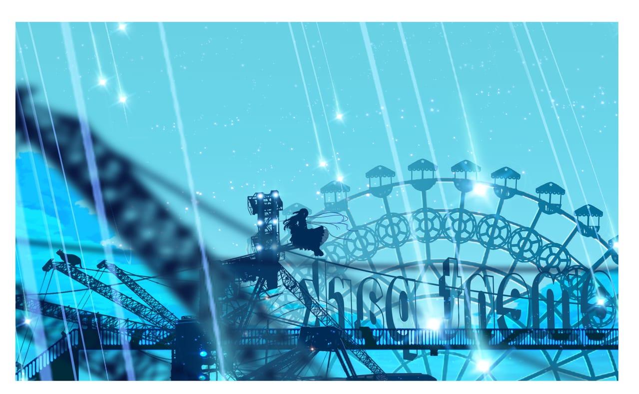 Morning amusement park Illust of まころん☆ May2021_Monochrome art イラスト好きな人と繋がりたい sky 美少女 kawaii anime illustration star background oc