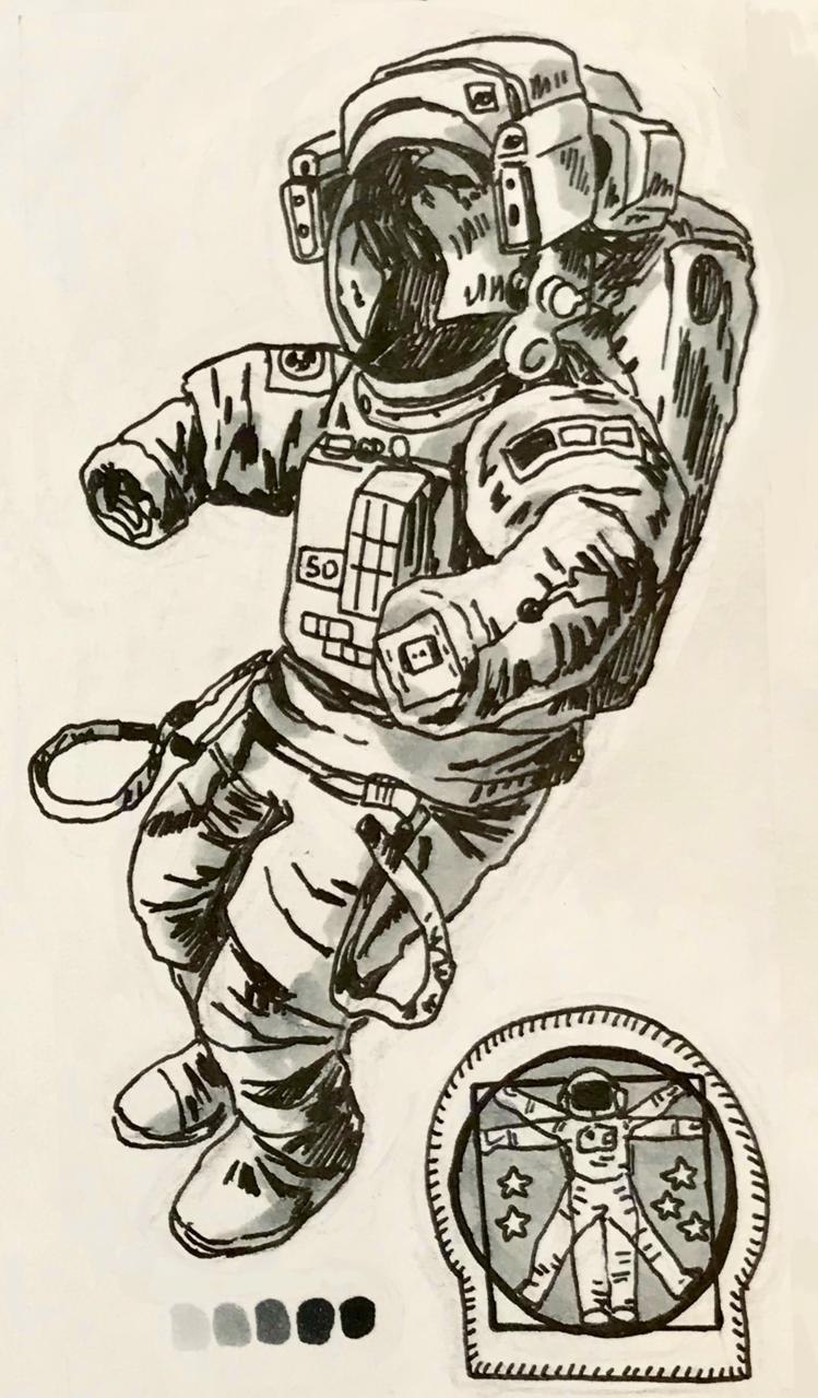Spacewalk Illust of CaputMortuum traditional Copic pen space spacesuit