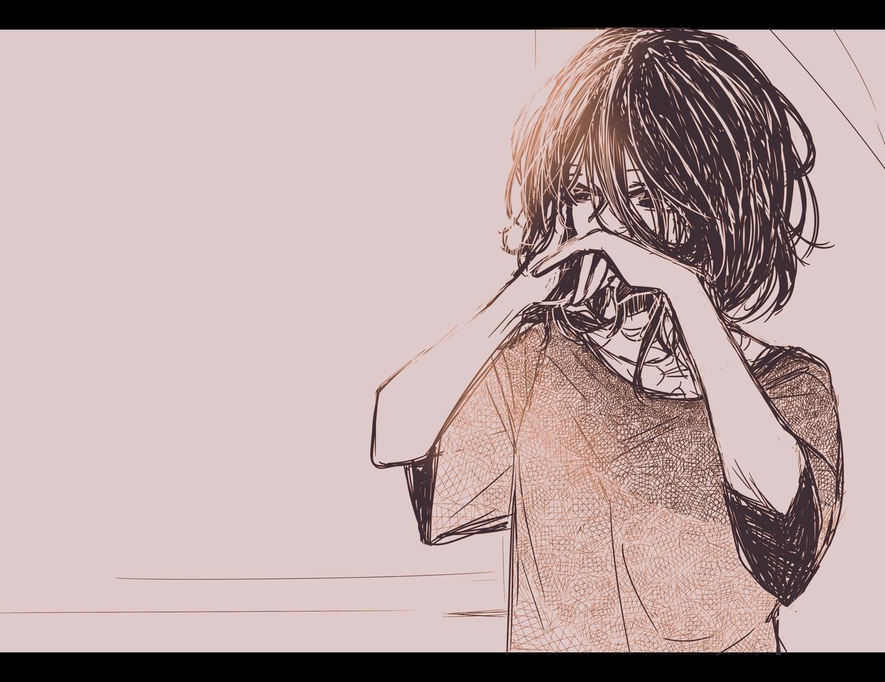 ANta Illust of AkiHaru monochrome sketch oc