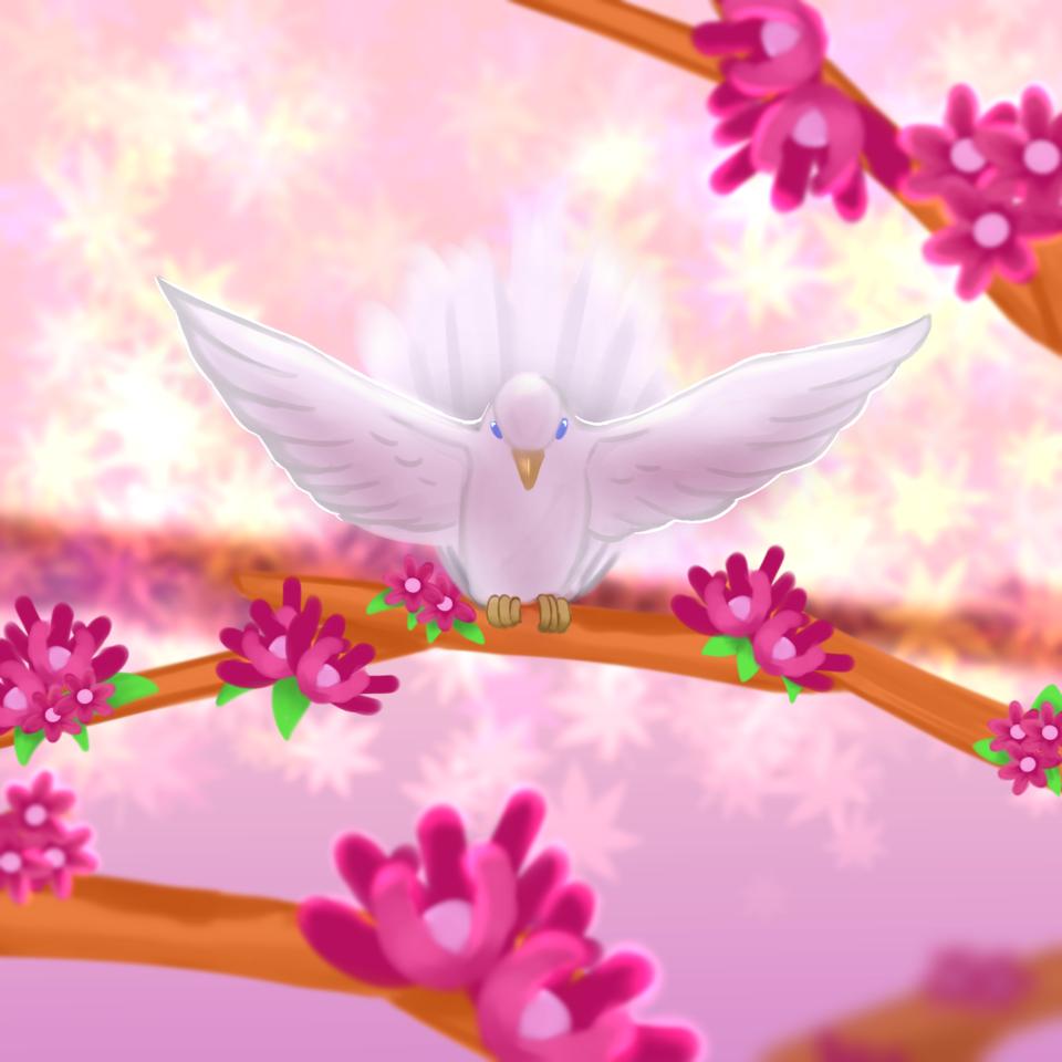 Dove Illust of moonli9ht_nana 1hDrawingChallenge medibangpaint flowers birds dove moonli9ht_nana