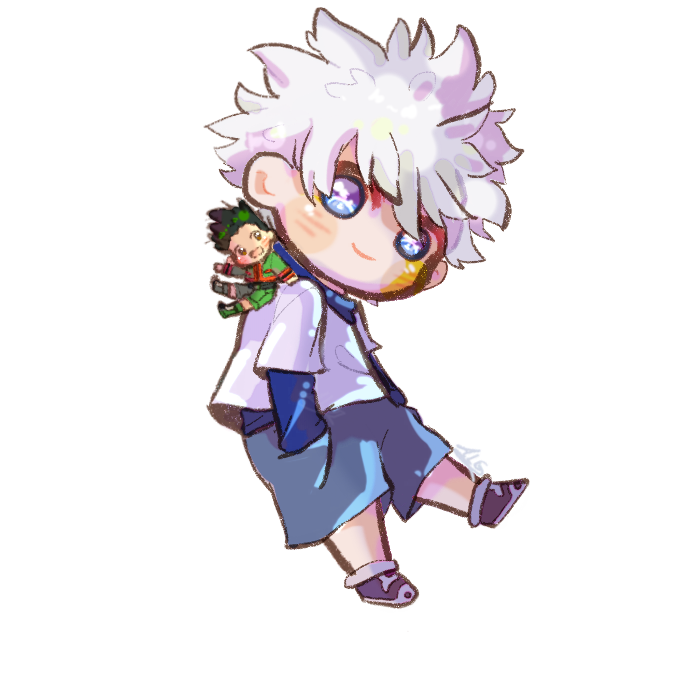 Killua and tiny Gon  Illust of ALG cute fanart Gon digital chibi KilluaZoldyck HUNTER×HUNTER