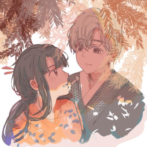 最喜欢画成双成对的小年轻了 Illust of Black米蟲 Feb2020:VDAY 男女 kimono