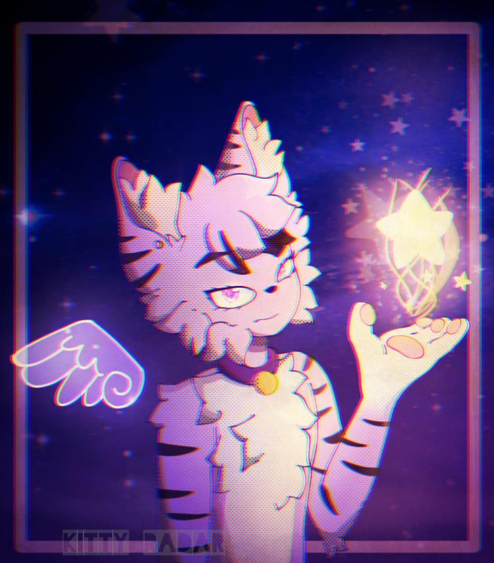 misty the cat Illust of kitty radar medibangpaint cat star purple furry pink furryoc fursona galaxy
