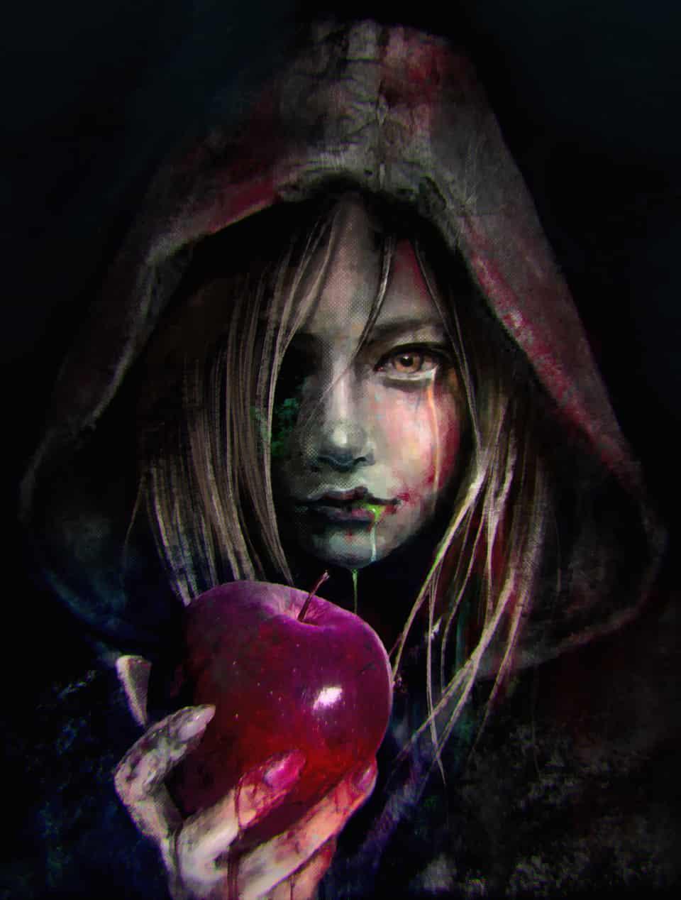 Apple Illust of U-K horror August2020_Contest:Horror illustration apple painting blood red art girl black dark