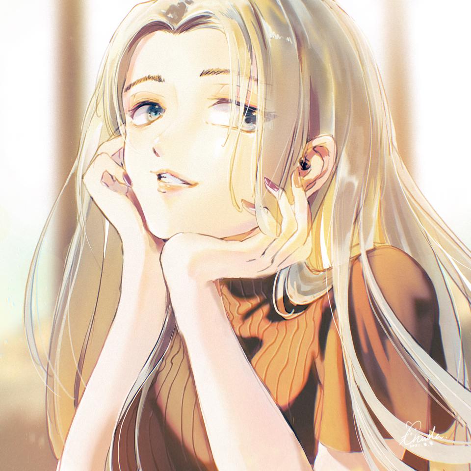 「へ〜そうなんだ」 Illust of 陳田こころ illustration painting ロングヘア doodle girl oc