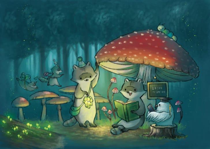 まよなか学校 Illust of ヒポポンゴ original animal 好棒啊! night きのこ Raccoon