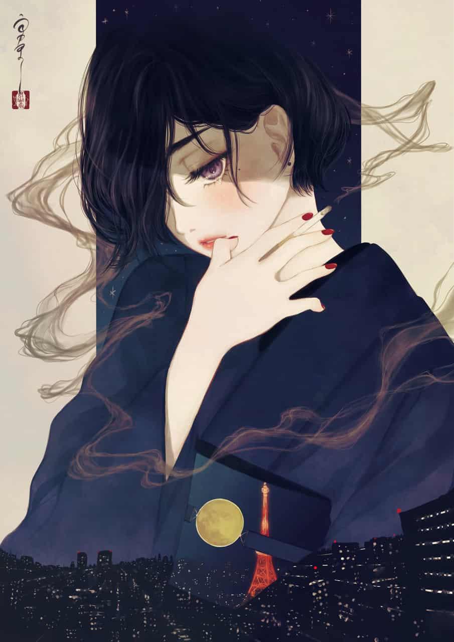 月が綺麗だった Illust of 丑山雨 kimono 夜景 東京タワー 失恋 moon メディバン iPad tobacco