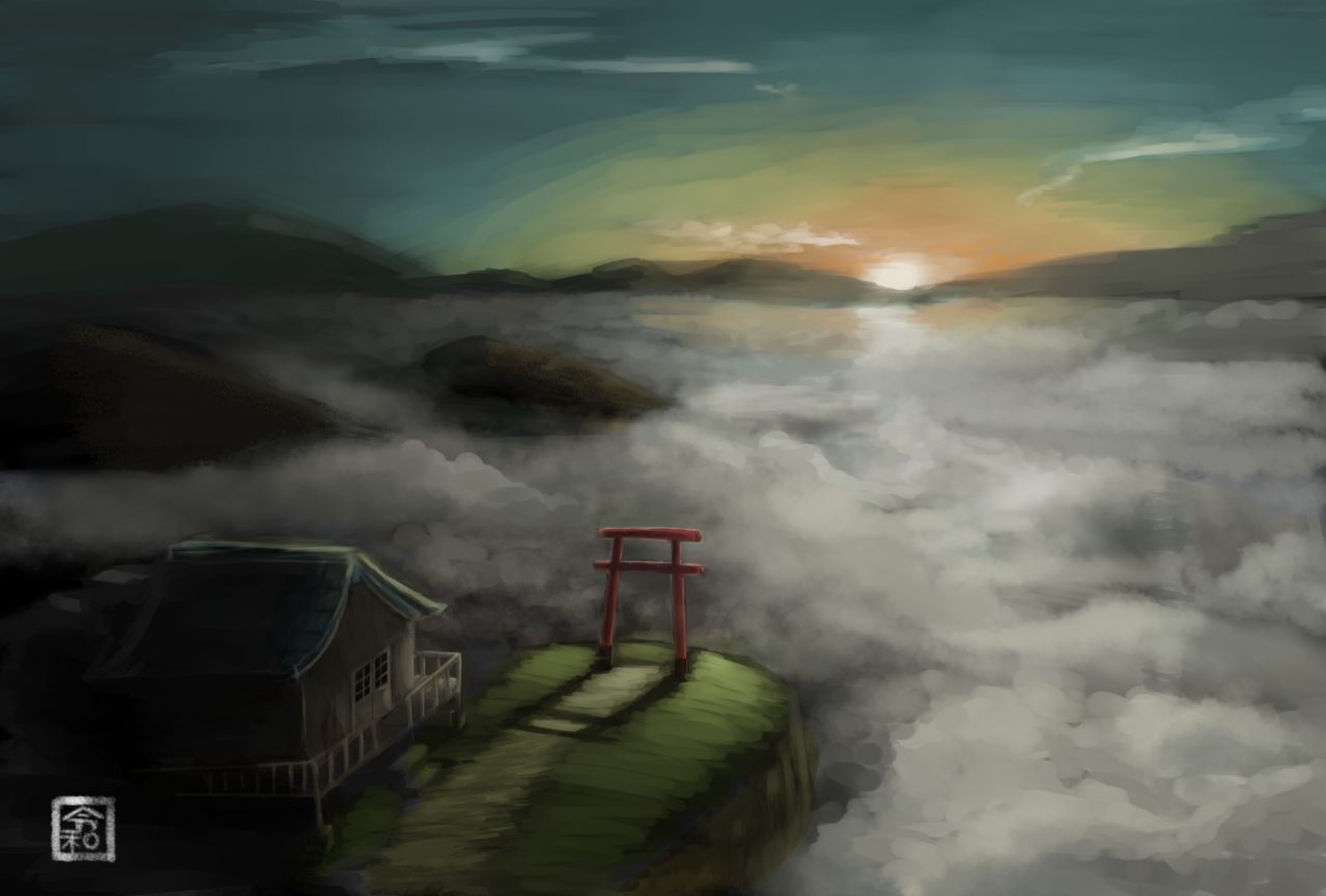Illust of ほえるざめ medibangpaint 神社 夜明け clouds scenery