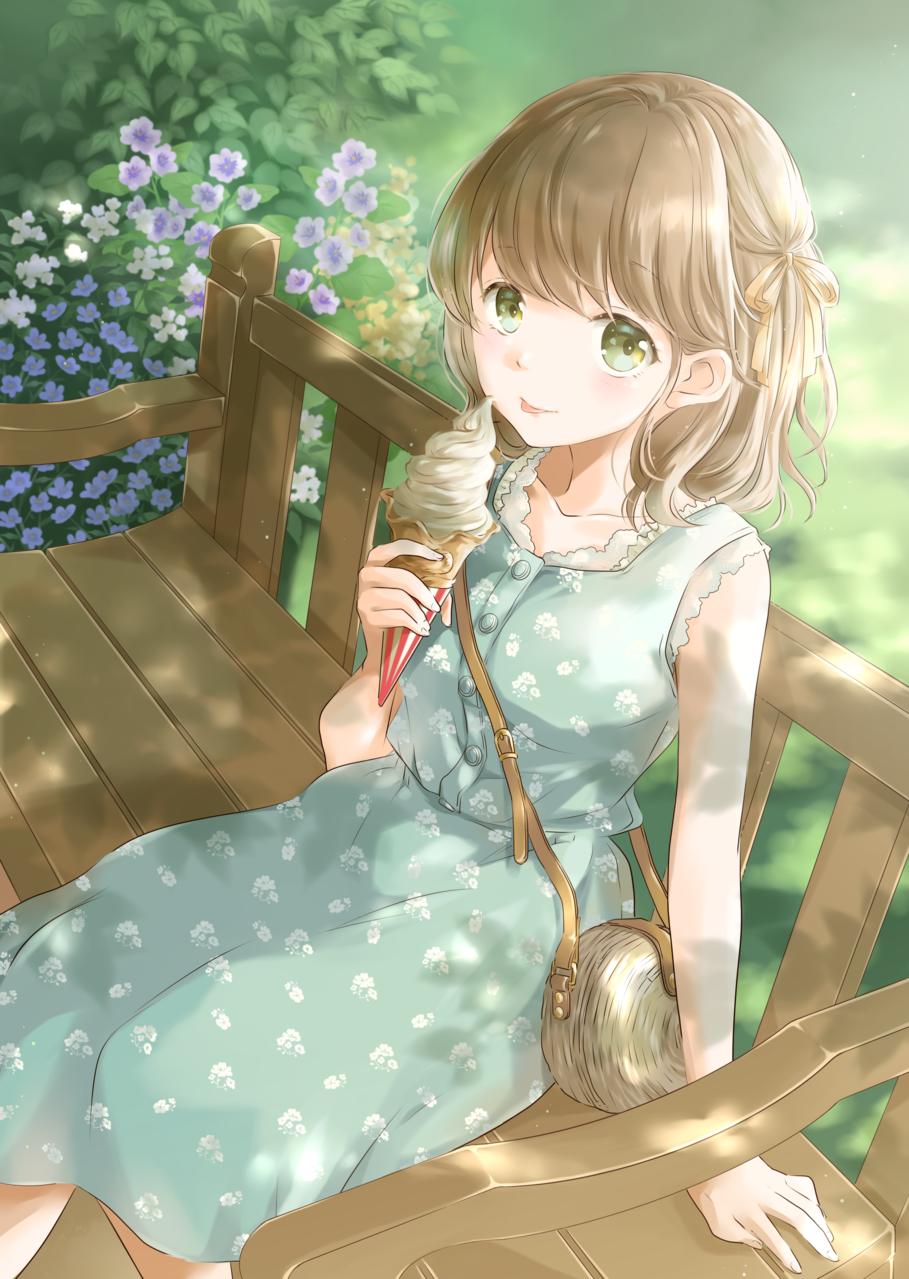 ソフトクリームがおいしい季節 Illust of 星茨まと ice-cream girl original summer