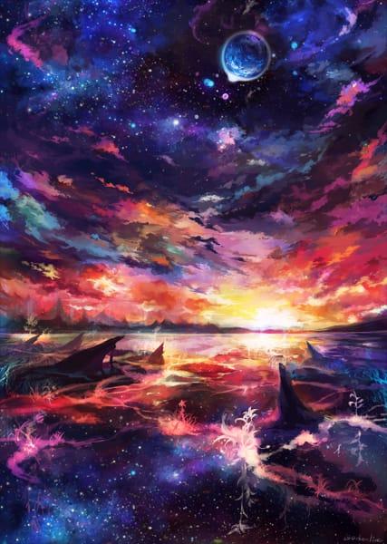 願いの最果て Illust of 明月亭 background sky star original scenery