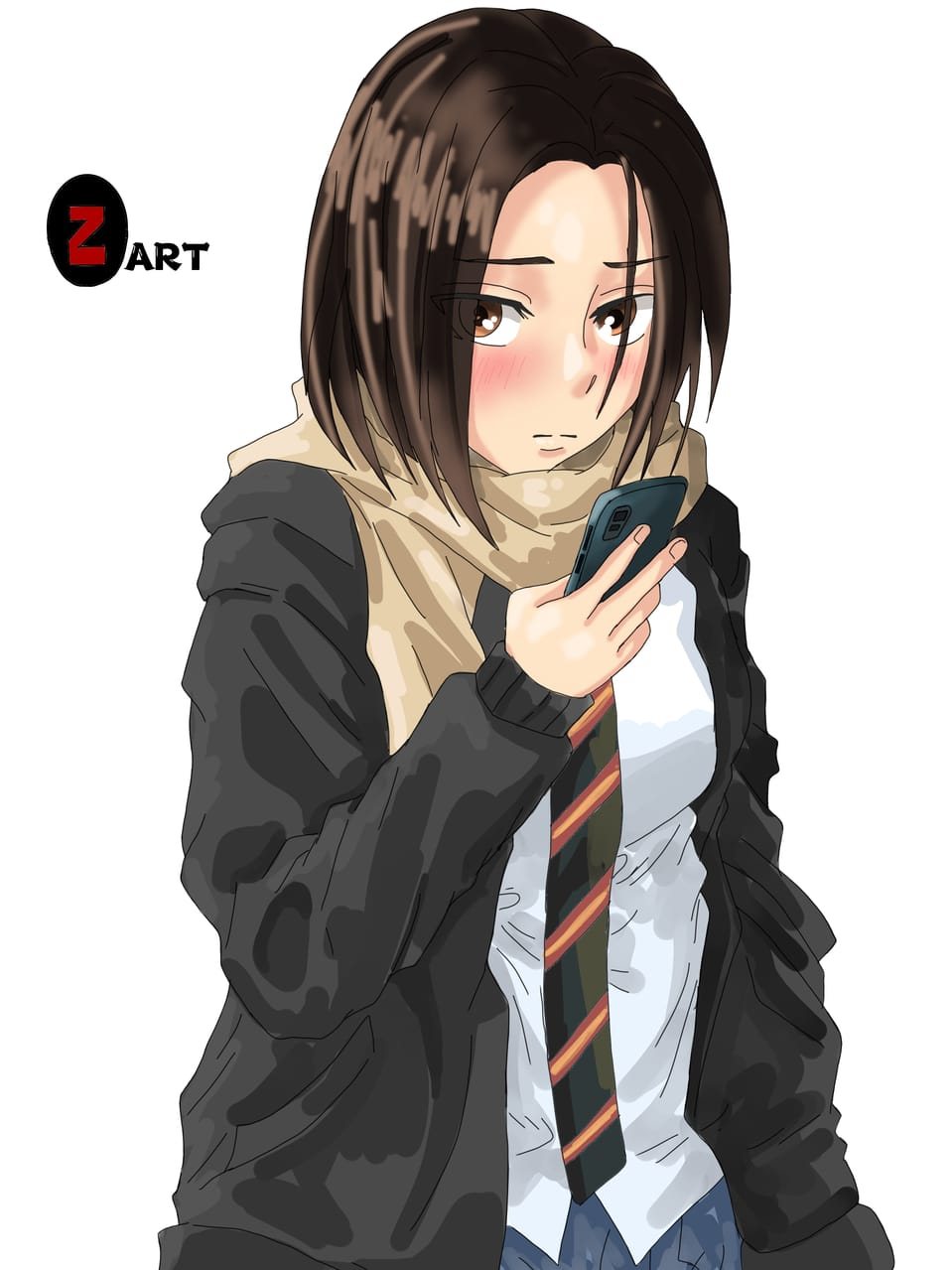 Girl in uniform. Illust of Yuri Black Zero uniform painting color cute request girl portrait medibangpaint illustration