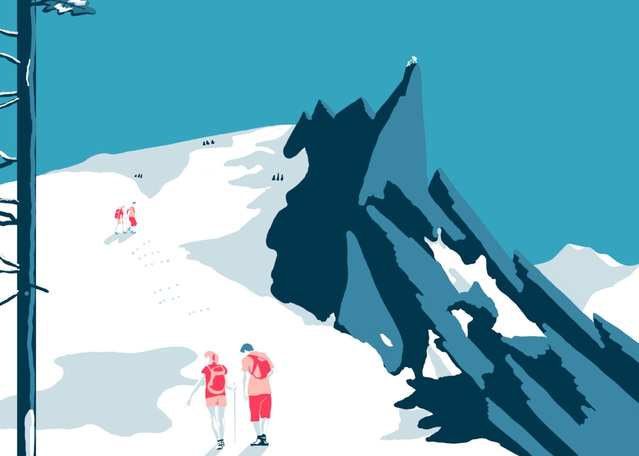 Invierno Illust of Leonardo Pedroza Jan.2020Contest Minimalista 雪山 Invierno Paisaje